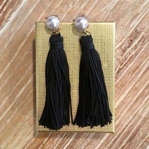 Pearl & Black Tassel Bauble Bar Earrings